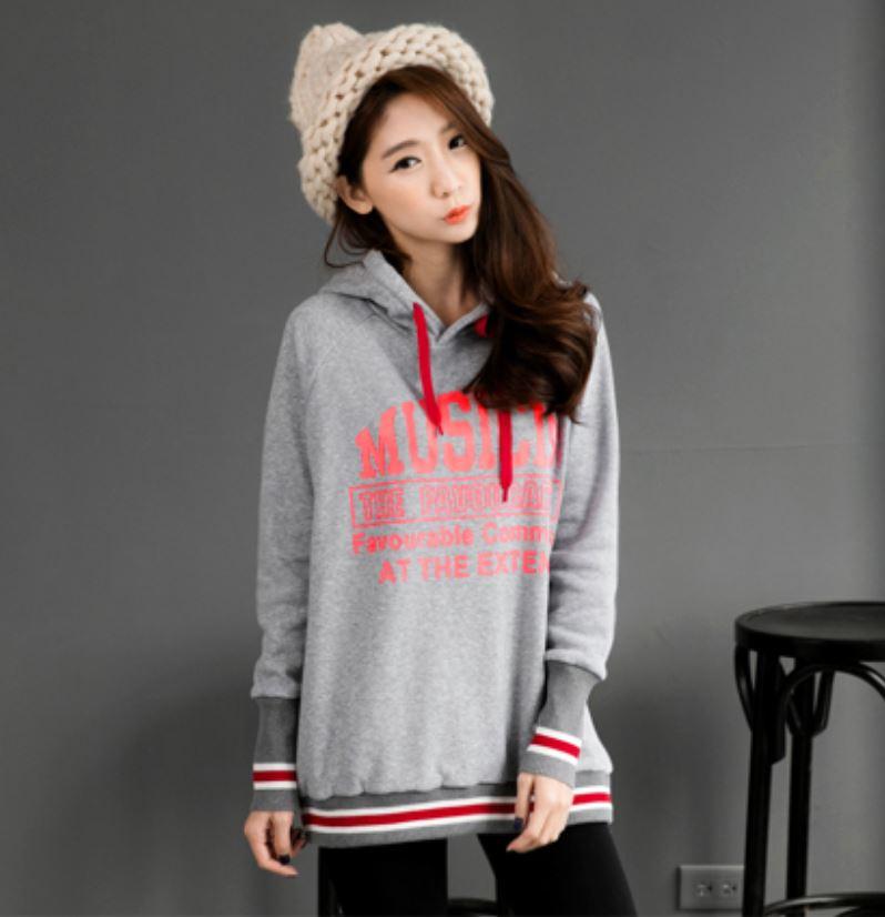 013edb82e Korea style Striped Rib x Brushed Drawstring Hoodies Top fashion on ...
