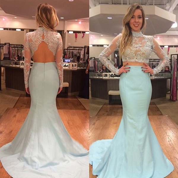 Long Sleeve White Lace Bodice Chiffon Skirt Elegant Simple: Two Piece Prom Dress Lace Bodice Long Sleeve Baby Blue