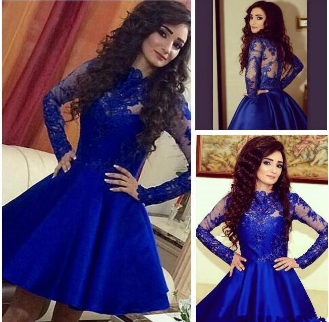 Stylish Royal Blue Long Sleeve Homecoming Dressshort Prom Dress