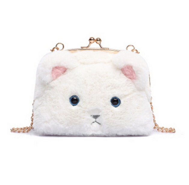 Free Shipping New Cute Cat Plush Shoulder Bag Purse (40046544) photo