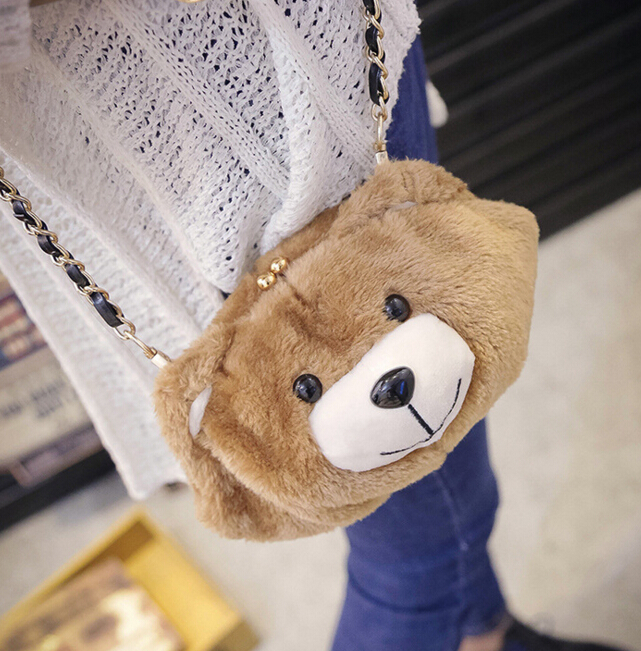 Free Shipping New Cute Bear Fur Shoulder Bag Purse (40050687) photo