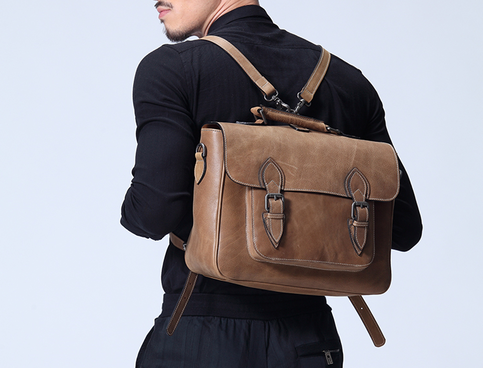 Mens Leather Backpack Business Bag Leather Messenger Bag Leather Murse For Electronic Gadget