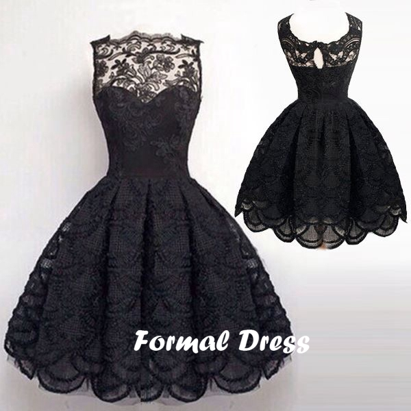 Simple Black A Line Lace Homecoming Dressesshort Prom Dressesball