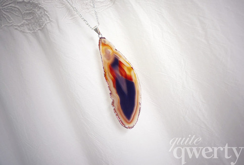 Agate Slice Necklace (Ice on Fire)