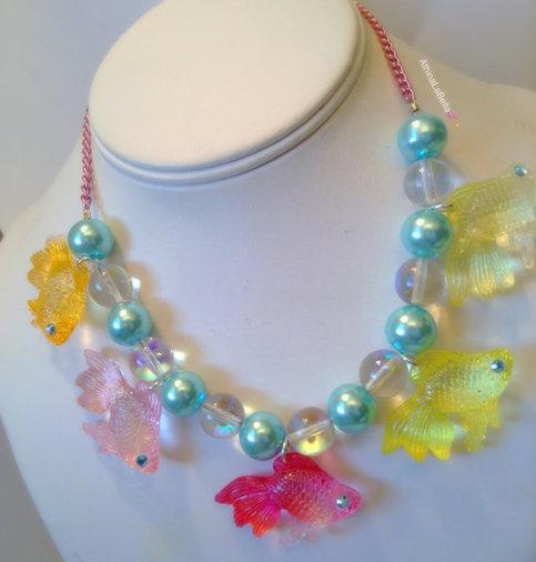 Kawaii Pastel Mermaid Fishy Necklace Charm Necklace