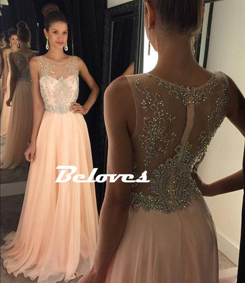 Gorgeous Pearl Pink Illusion Beaded Bodice Prom Dress With