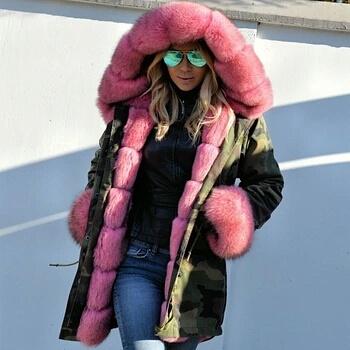 Womens Beautiful Fox Fur Parka