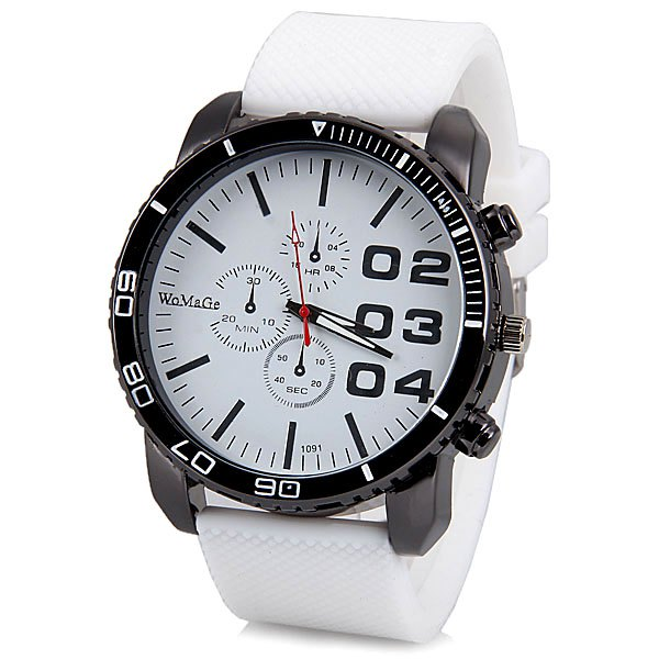Specification Color: BLACK, BLUE, GREEN, RED, WHITE, WHITE AND BLACK Category: Watches > Men's Watches   Watches categories: Male table  Watch style: Fashion  Style elements: Big dial Movement type: Quartz watch  Shape of the dial: Round  Display type: Pointer  Case material: Stainless steel Band material: Rubber  Clasp type: Buckle Special features: Decorating small three stitches The dial thickness: 1.2 cm/0.5 inch  The dial diameter: 5.0 cm/2.0 inch  Product weight: 0.080 kg  Package weight: 0.140 kg  Product size (L x W x H): 26.8 x 5.0 x 1.2 cm/10.6 x 2.0 x 0.5 inches  Package size (L x W x H): 27.8 x 6.0 x 2.2 cm Package Contents: 1 x Watch
