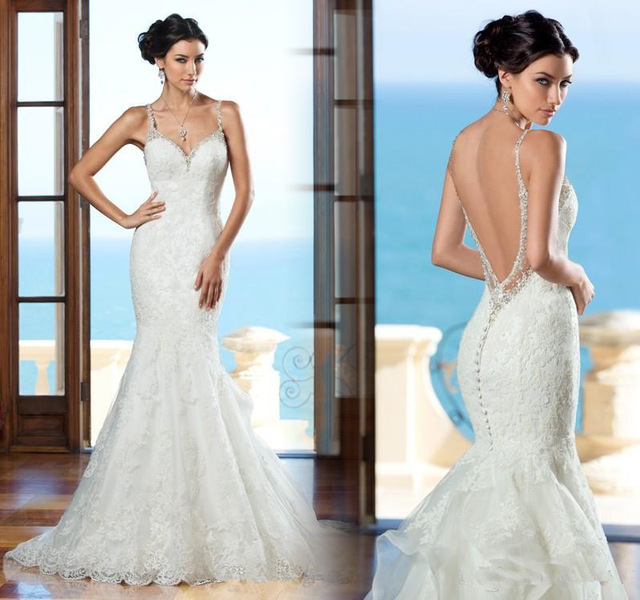 f6434eeb8876 Sexy backless lace mermaid wedding dress 2015 spaghetti straps sleeveless  trumpet with long court train custom