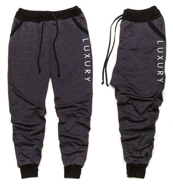 Mens Luxury Charcoal Gray And Black Trim Jogger Pants