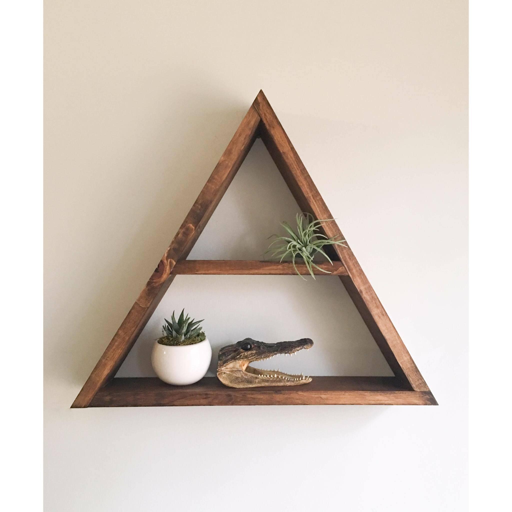 Triangle Shelf Crystal Shelf Shadow Box Wood Shelf