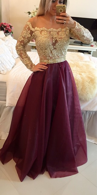 Long Sleeves Prom Dresses Gold Illusion Lace Beaded