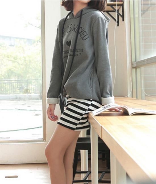 Korea Style Hoodie Dress With Striped Mini Skirt Fashion On Storenvy