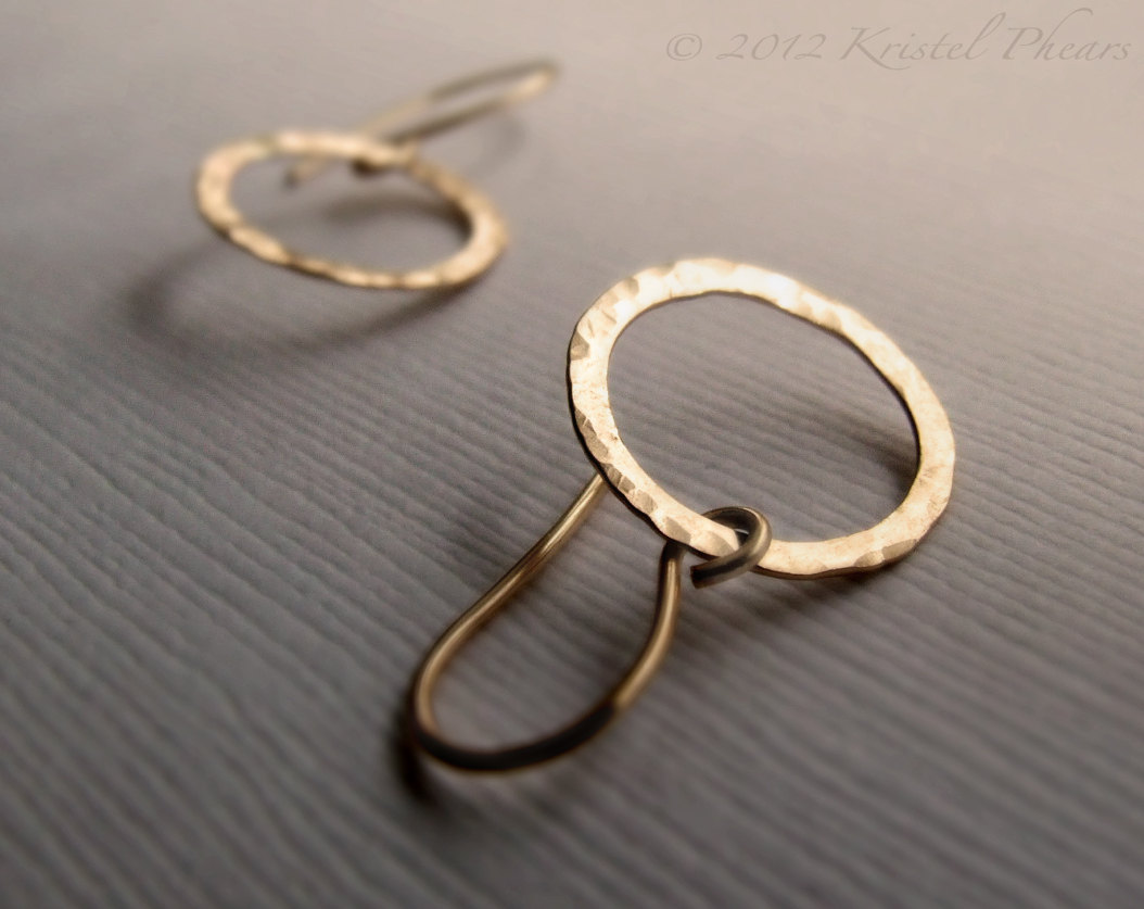 085310475424b Hammered Circle Earrings - Sterling Silver or 14k Gold-Filled small dangle  drop, hoop earrings, bridesmaid gift from Kris P Studio