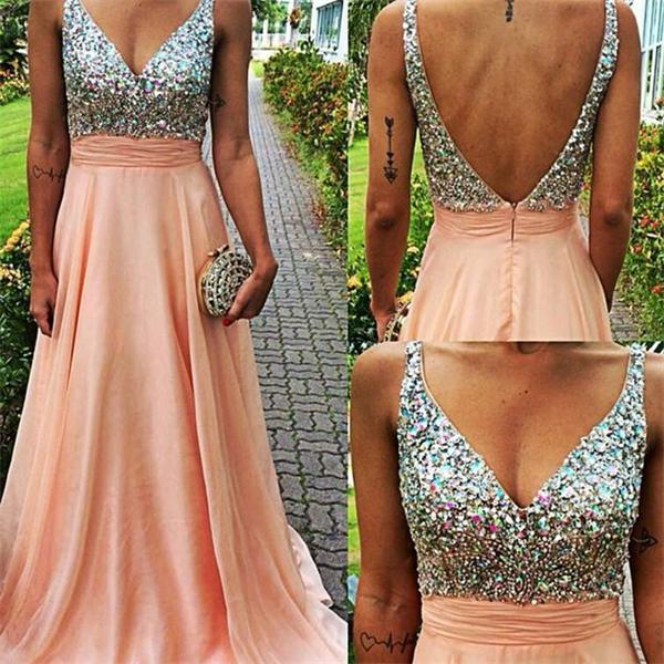 2016 Top Selling Backless Prom Dresses,Deep V-neck Prom Gowns ...