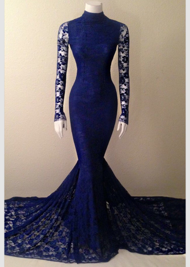 2016 Newest Long Sleeves Royal Blue Prom Dresses,Sexy Mermaid Lace ...