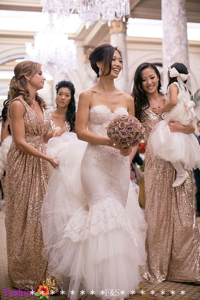 1148b6a7ed2 ... Sparkly Rose Gold Cheap 2015 Mermaid Bridesmaid Dresses 2016 Short  Sleeve Sequins Backless Long Beach Wedding ...