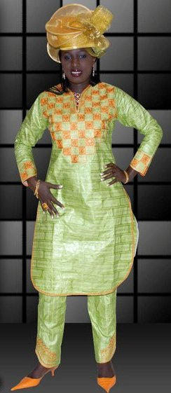 Lime Green African Womens Clothing With Pants