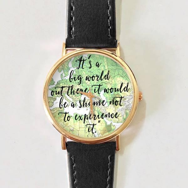 Travel Quotes Watch, Women Watches, Leather Watch, Men\'s Watch, Boyfriend  Watch, Ladies Watch, World Map Watch, Unique, Gift, from FREEFORME