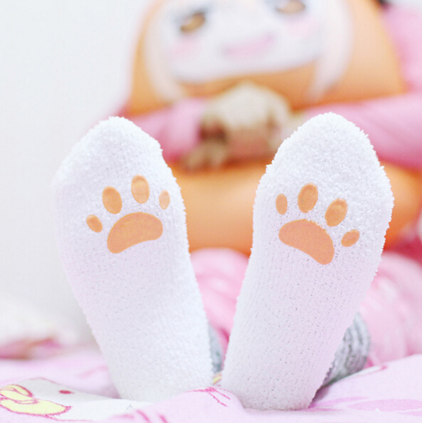 Cute Cat Pow Fleece Socks