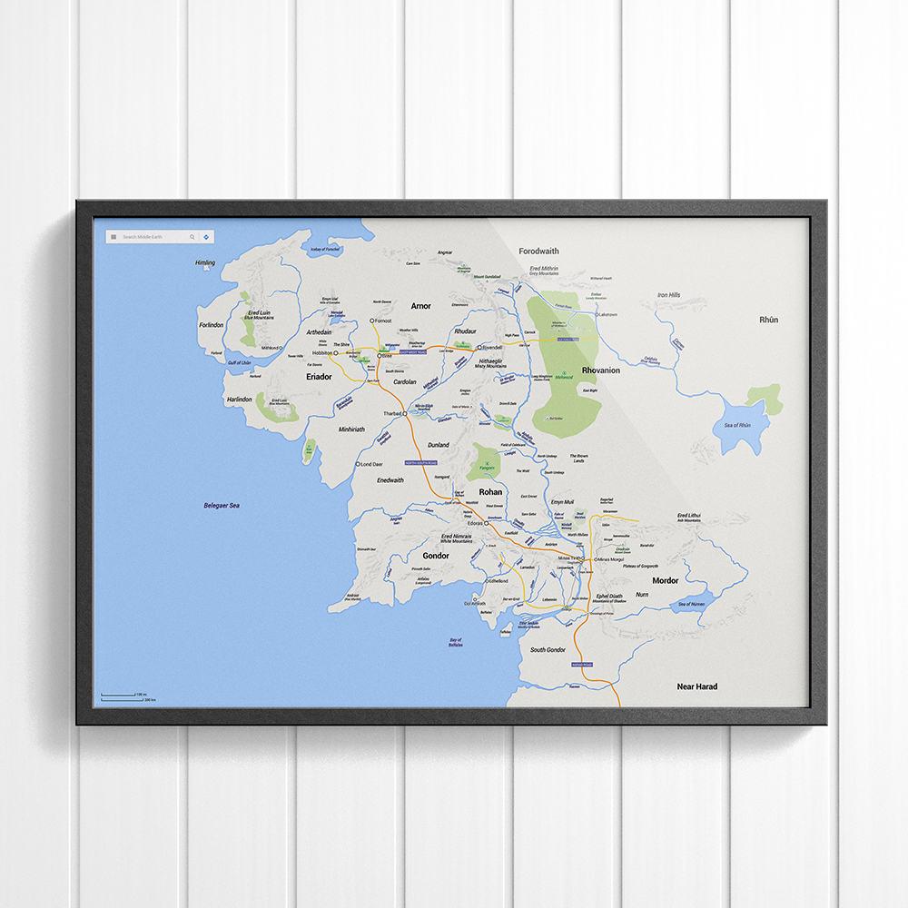 Middle Earth Map - Poster, Google Maps