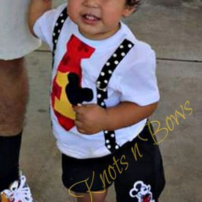 Boys Mickey Mouse First Birthday Outfit Tshirt Black Shorts 1st 2nd