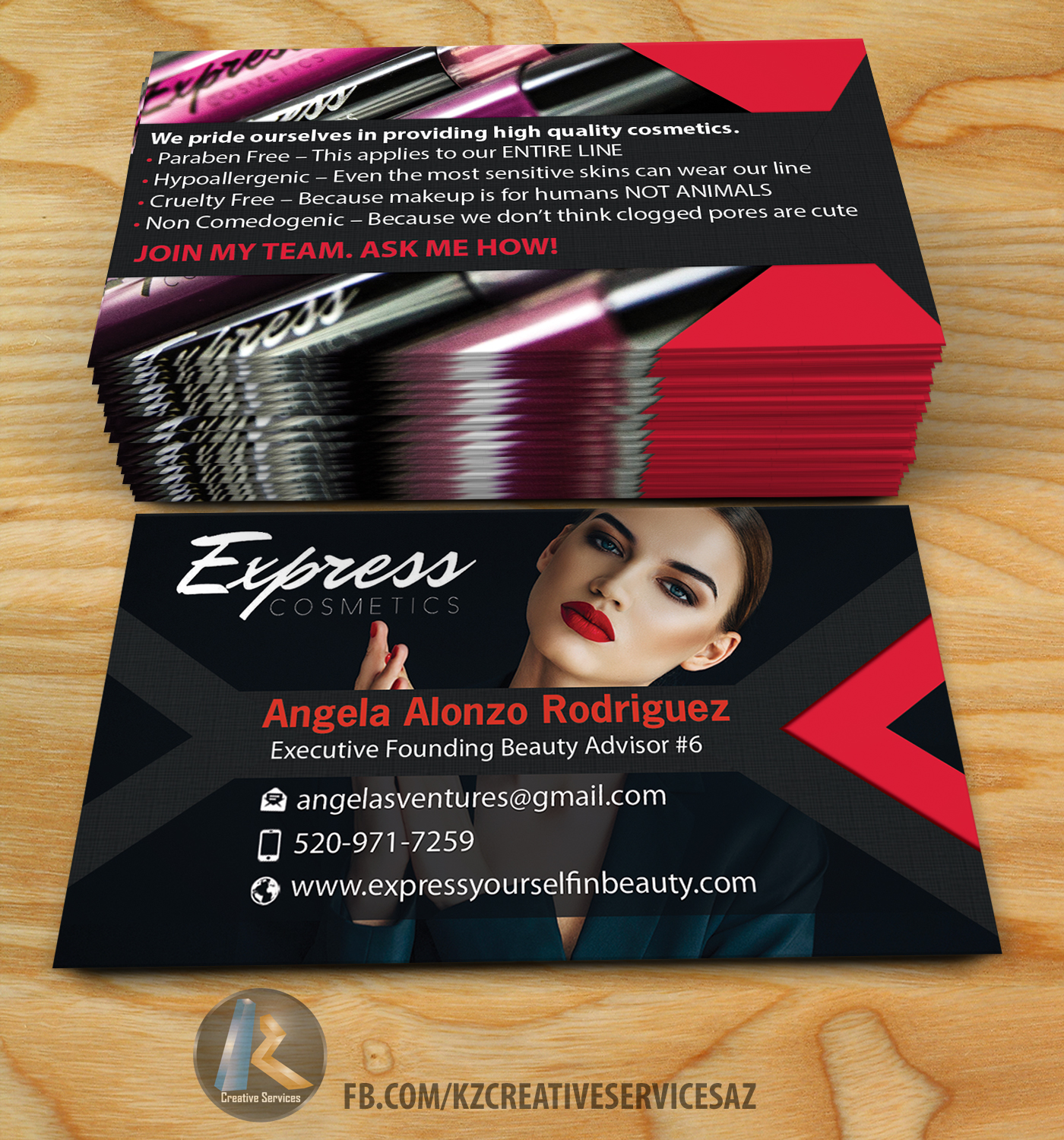 express cosmetics business cards · kz creative services