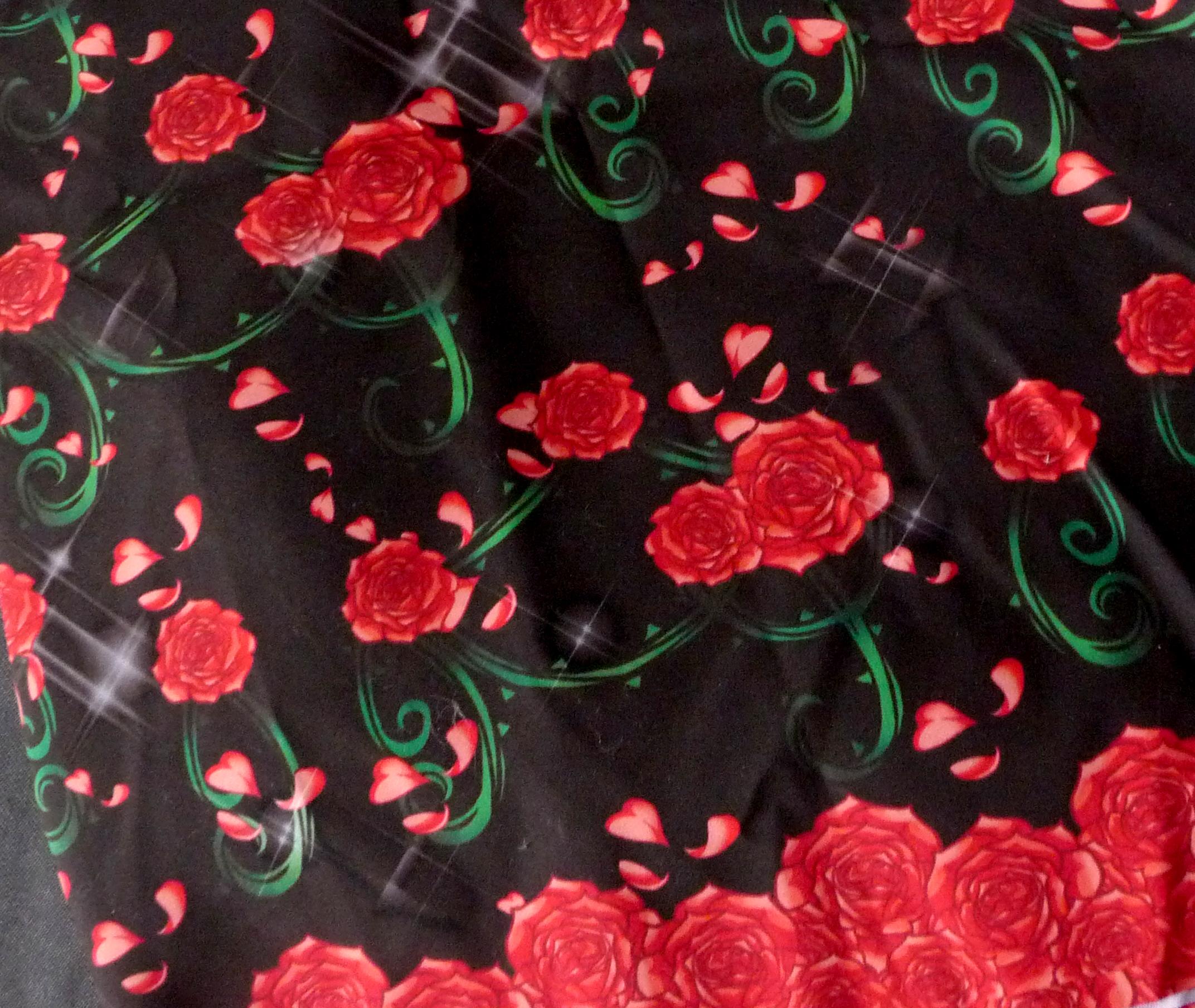 Rose Diamante Print Fabric In Black On Storenvy
