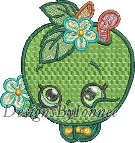 Apple Blossom Shopkins Machine Embroidery Designs In 2 Sizes Ionnee Designs Online Store Powered By Storenvy