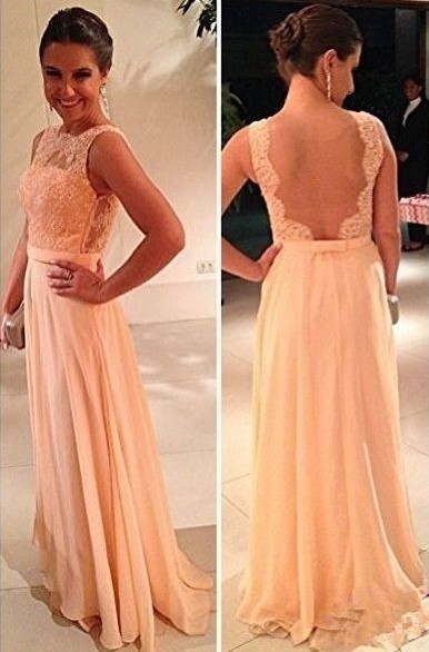 Back Lace Long Prom Dresses