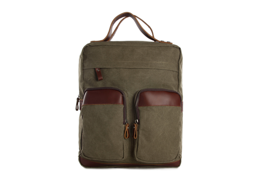 Canvas Leather Backpack/ Waxed Canvas Casual Backpack/ School Backpack 12029