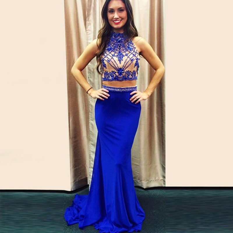 159fc56e4586 High Neck Royal Blue Two Piece Mermaid Prom Gown With Beaded Top ...