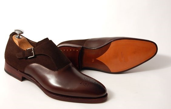 Handmade Men Brown Formal Shoes Men Brown Suede And Leather Dress