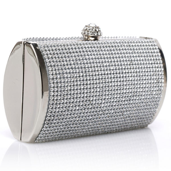 Silver Rhinestone Crystal Evening Bridesmaid Clutch Purse (41771490 Curvy Brides) photo