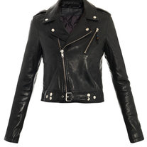 f3167b6fc2 Women black biker Leather Jacket with belted on Storenvy