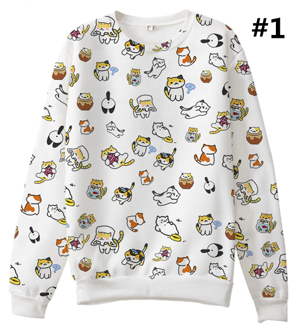 dfb15863b6a10c [neko atsume] s-3xl so many cats on my top jumper sp165056
