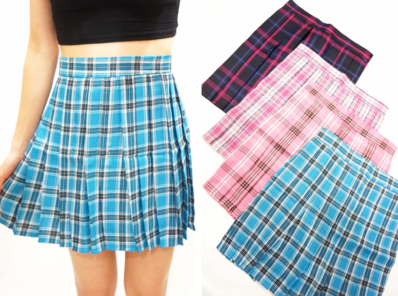abde07c82a Blue Plaid Pleated Skirt - Small · Sandysshop · Online Store Powered ...