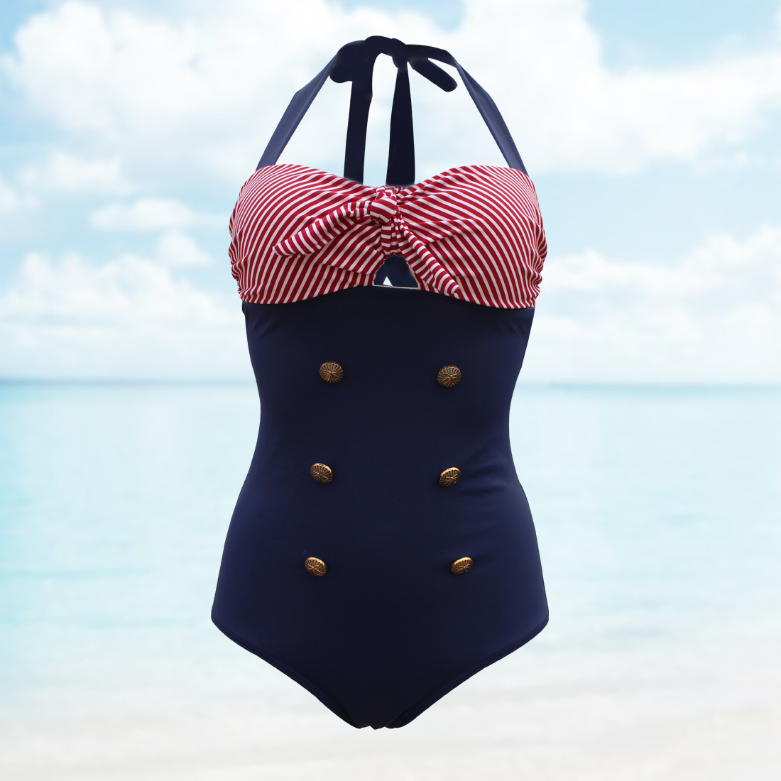 d088e8fed917 Plus Size Vintage Inspired Halter Stripe Monokini Swimwear from Kashion