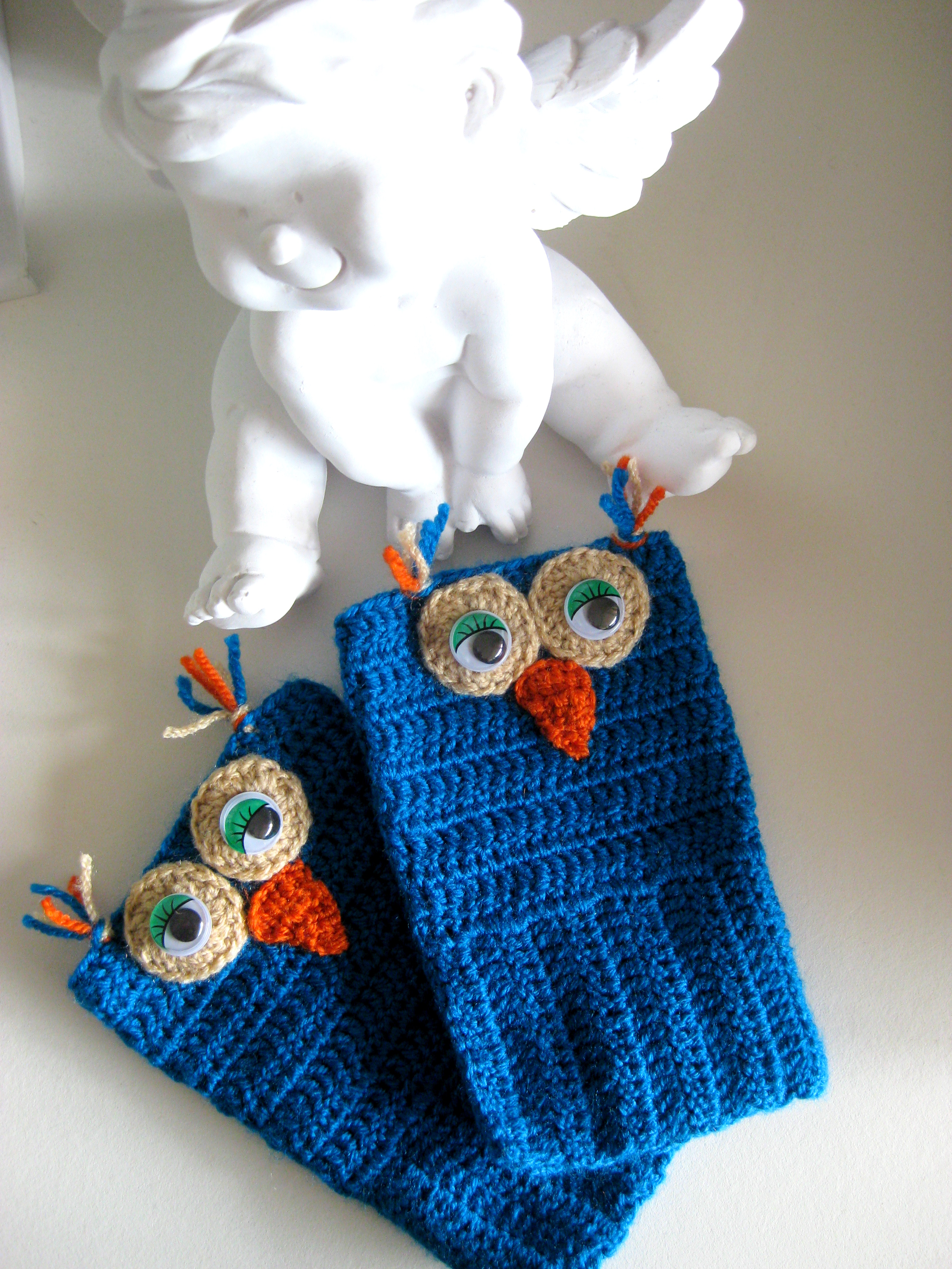 Owl Crochet Fingerless Mitten Gloves Wrist Warmer Handmade Blue