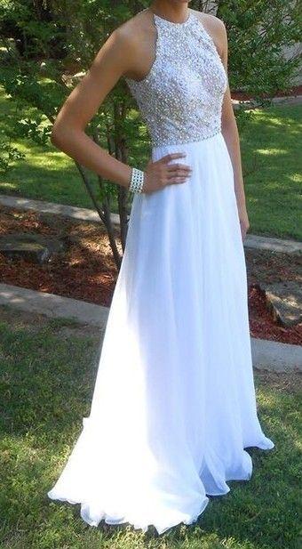 White Halter Long Formal Dresses