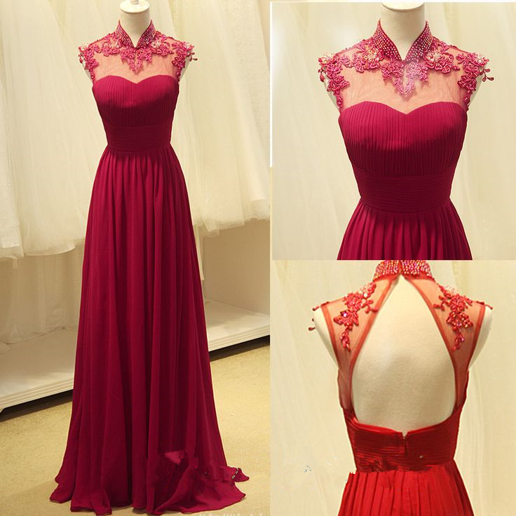 99889d85f18 High Quality Handmade A-Line Rose-Red Chiffon Floor Length Backless Prom Gown  2016