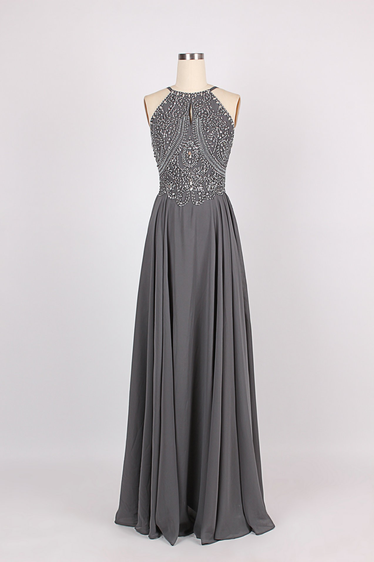 9380489a1d5 Spaghetti strap beading bare back chiffon prom dress beading prom dress  fashion evening gown
