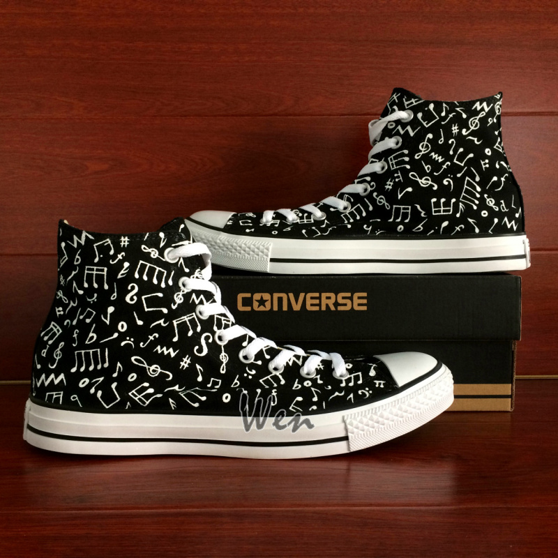 Music Notes Original Design Black Converse All Star Hand