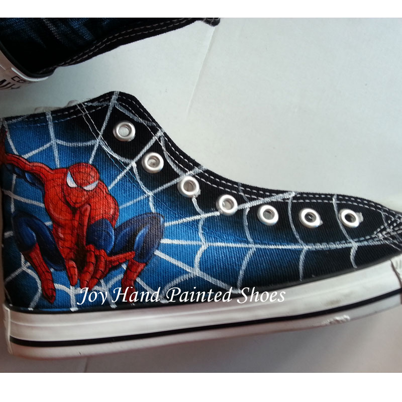 8383c0a51e2e Hand Painted Shoes Men Women Converse All Star Spider Man High Top Black  Canver Sneakers Gifts on Storenvy