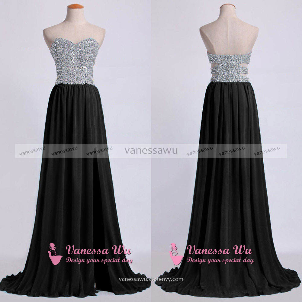 ad302cc90e80 ... Black Low Back Prom Dresses with Cut-out, Flowy Chiffon Prom Dress with  Beaded ...