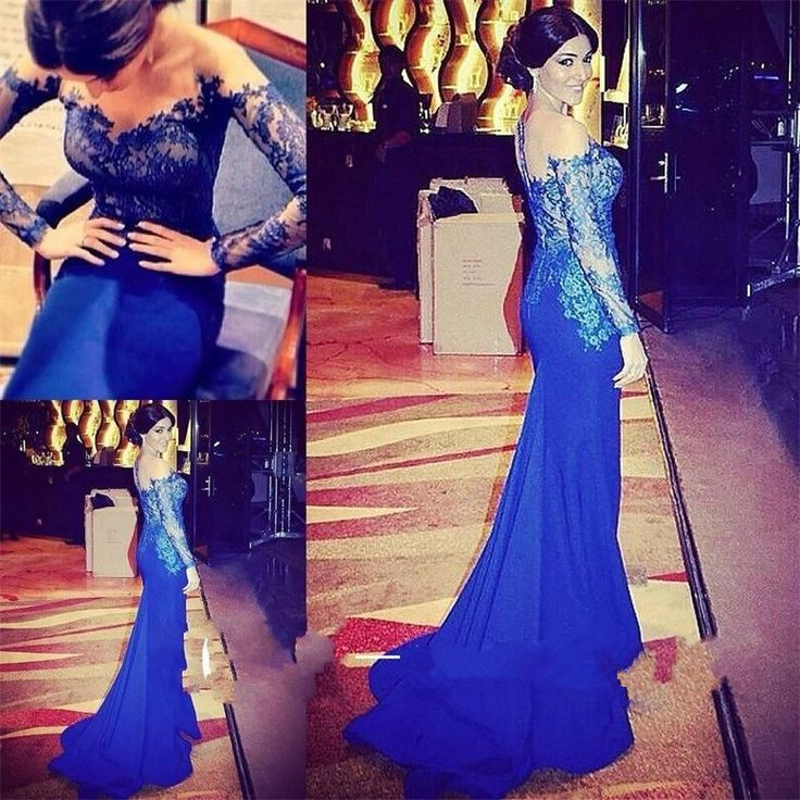Beautiful Royal Blue Lace Applique Prom Gown 2016 Blue Prom Dresses
