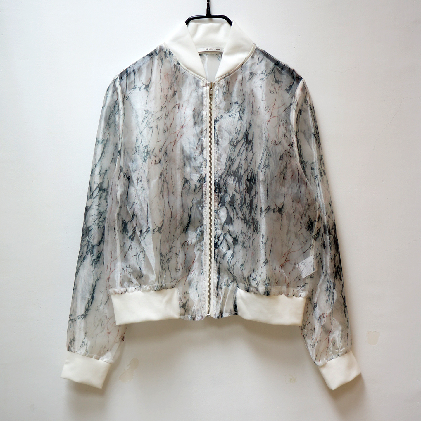 9a56947e7 Cloud Printed Organza Bomber Jacket from meimeilee