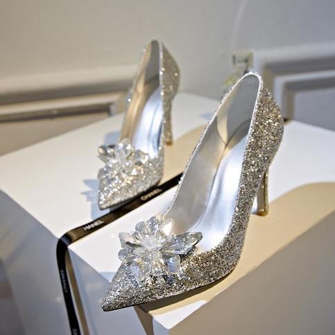 Cinderella Shoes Sexy High Heels Women Pumps Silver