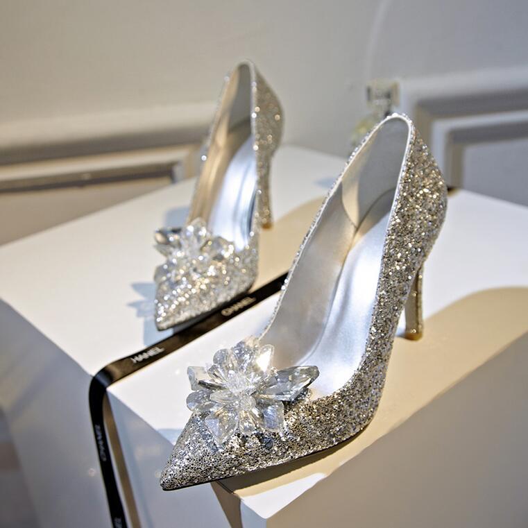 Wedding Heels With Rhinestones: Cinderella Shoes Sexy High Heels Women Pumps Silver