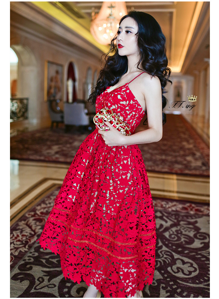 17a29e9cef ... Stylish red lace prom dresses